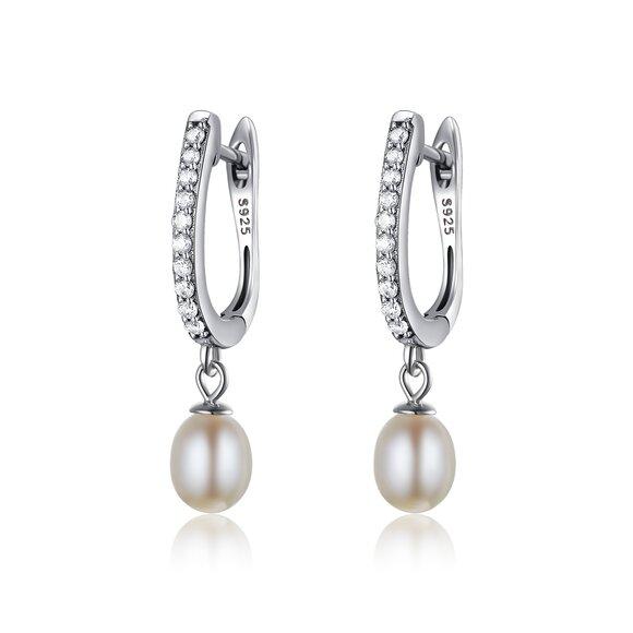 Cercei din argint Pearls & Crystals Hoops
