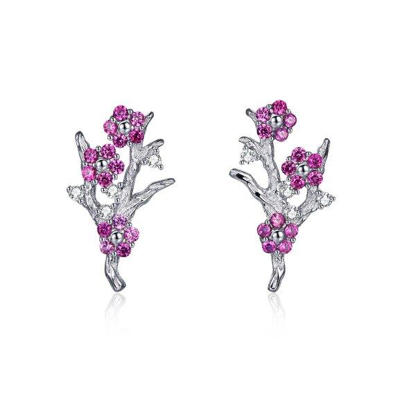 Cercei din argint Pink Bouquet