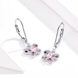 Cercei din argint Pink Butterflies Hoops