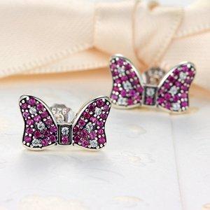 Cercei din argint Pink Daisy Bow