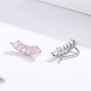 Cercei din argint Pink Emerald Arc Studs