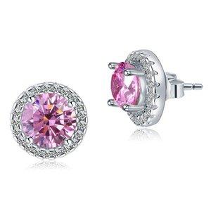 Cercei din argint Pink Round Diamonds