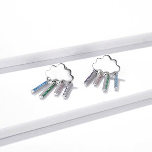 Cercei din argint Rainbow Dropping Clouds