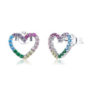 Cercei din argint Rainbow Shiny Hearts