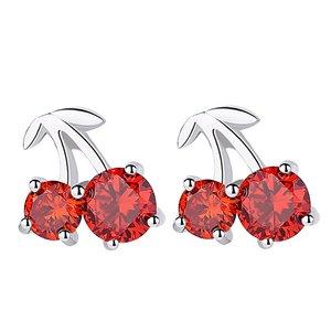 Cercei din argint Red Cherries