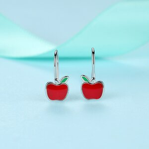 Cercei din argint Red Email Apple
