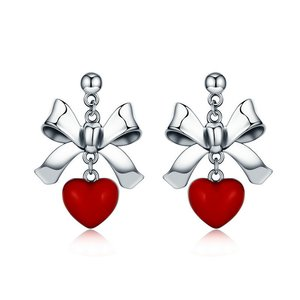 Cercei din argint Red Heart Bow