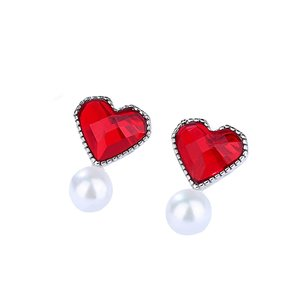 Cercei din argint Red Heart Pearls