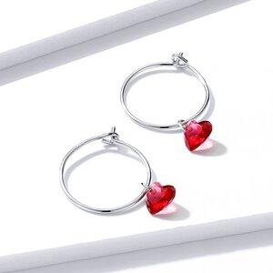Cercei din argint Red Hearts Hoops