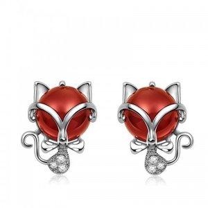 Cercei din argint Red Little Cats