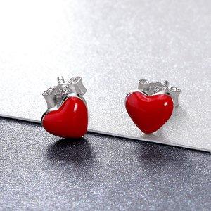 Cercei din argint Red Little Hearts