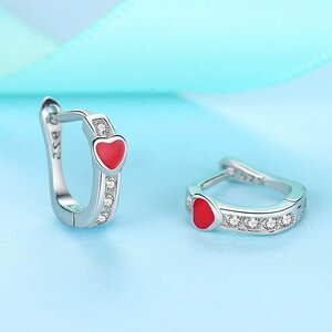 Cercei din argint Red Small Heart Hoops