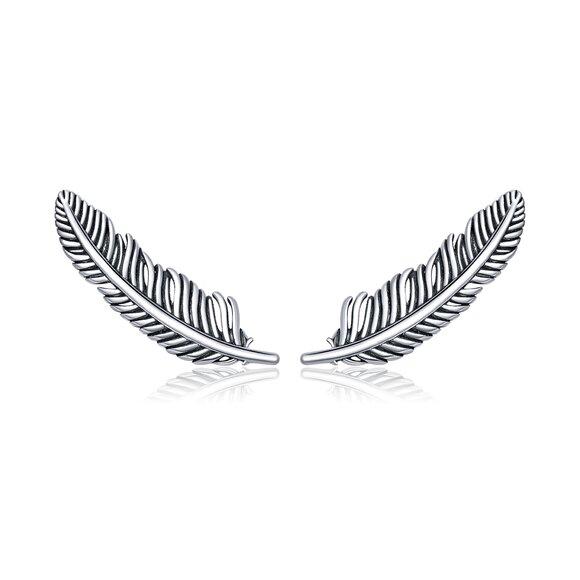Cercei din argint Retro Feather Studs
