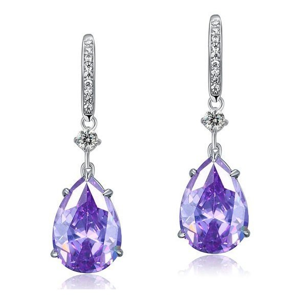 Cercei din argint Romantic Purple Diamonds