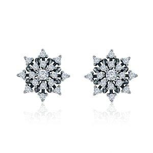 Cercei din argint Romantic Snowflake