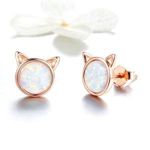 Cercei din argint Rose Gold Cat