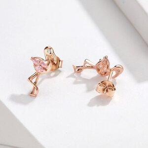 Cercei din argint Rose Gold Flamingo