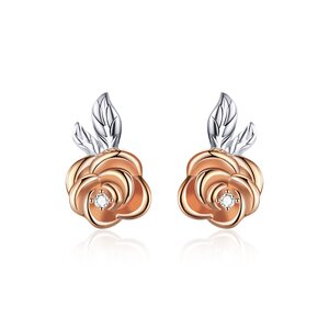 Cercei din argint Rose Gold Little Flower