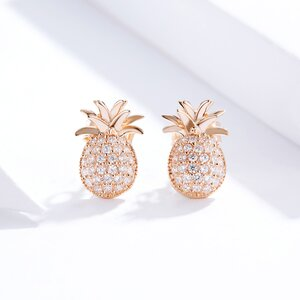 Cercei din argint Rose Gold Shiny Pineapple