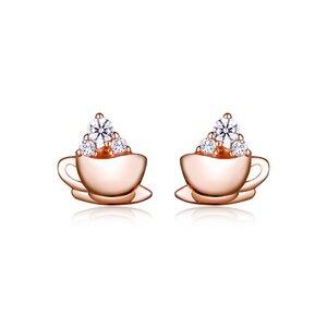Cercei din argint Rose Gold Tea Cup