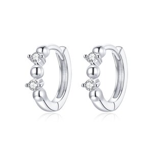 Cercei din argint Rounds & Crystals Hoops