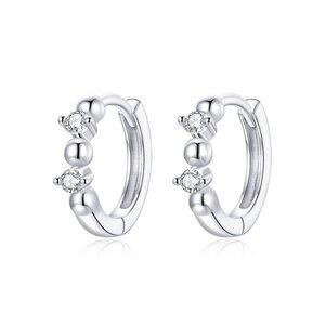 Cercei din argint Rounds & Crystals Hoops