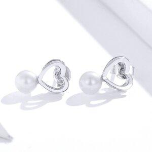 Cercei din argint Shell Pearl Heart