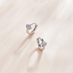 Cercei din argint Shining Crown Hoops