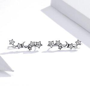Cercei din argint Shining Stars & Moon