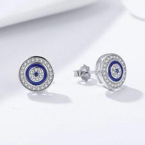 Cercei din argint Shiny Blue Eye Studs