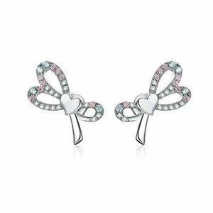 Cercei din argint Shiny Heart Bow