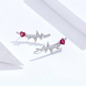 Cercei din argint Shiny Heartbeat