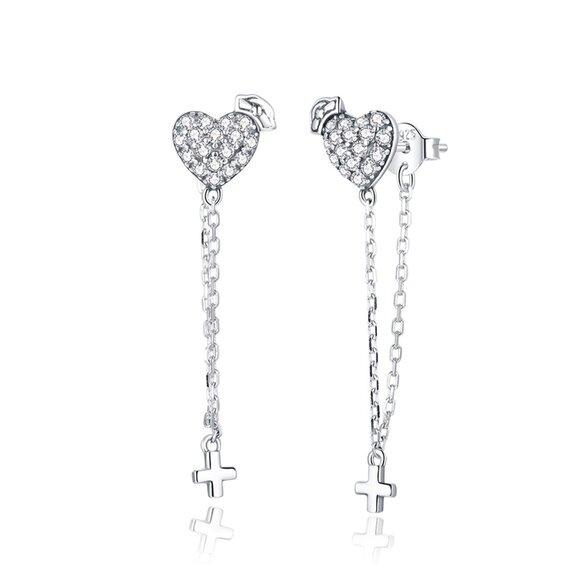Cercei din argint Shiny Hearts & Chain Cross