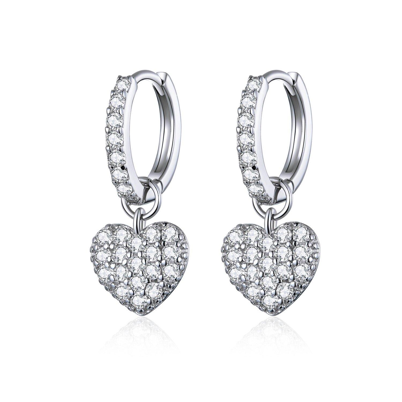 Cercei din argint Shiny Hearts Hoops