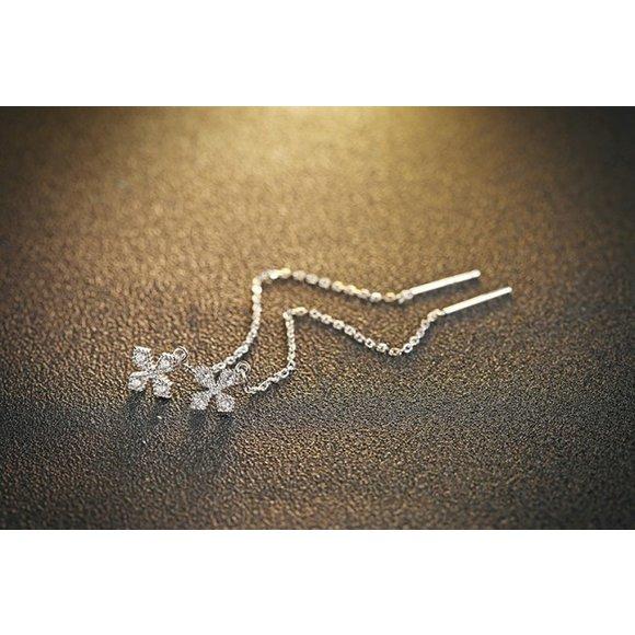 Cercei din argint Fashion Long Star