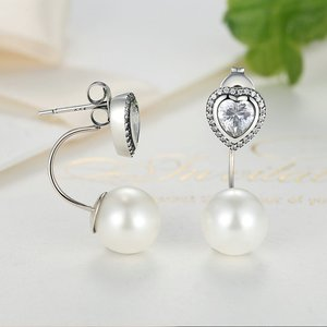 Cercei din argint Silver Hearts and Pearls