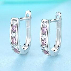 Cercei din argint Silver Pink Crystal