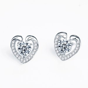 Cercei din argint Silver Shiny Hearts