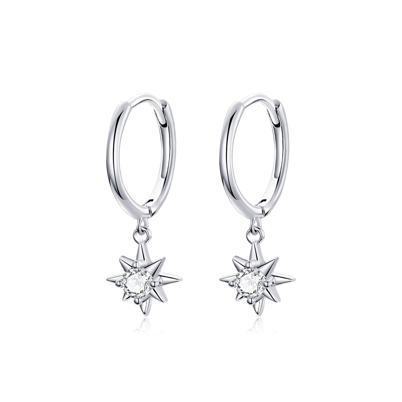 Cercei din argint Silver Sun Hoops