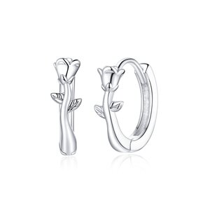 Cercei din argint Simple Roses Hoops