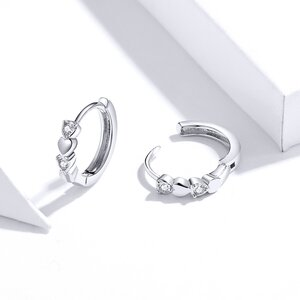 Cercei din argint Simple & Shiny Hearts Hoops
