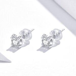 Cercei din argint Simple Square Crystal