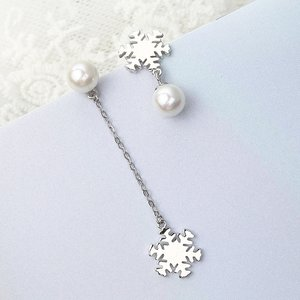 Cercei din argint Snowflake and Pearl