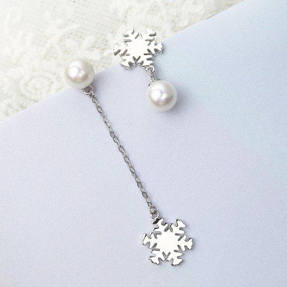 Cercei din argint Snowflake and Pearl
