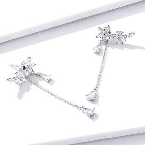 Cercei din argint Sparkling Chain Flowers