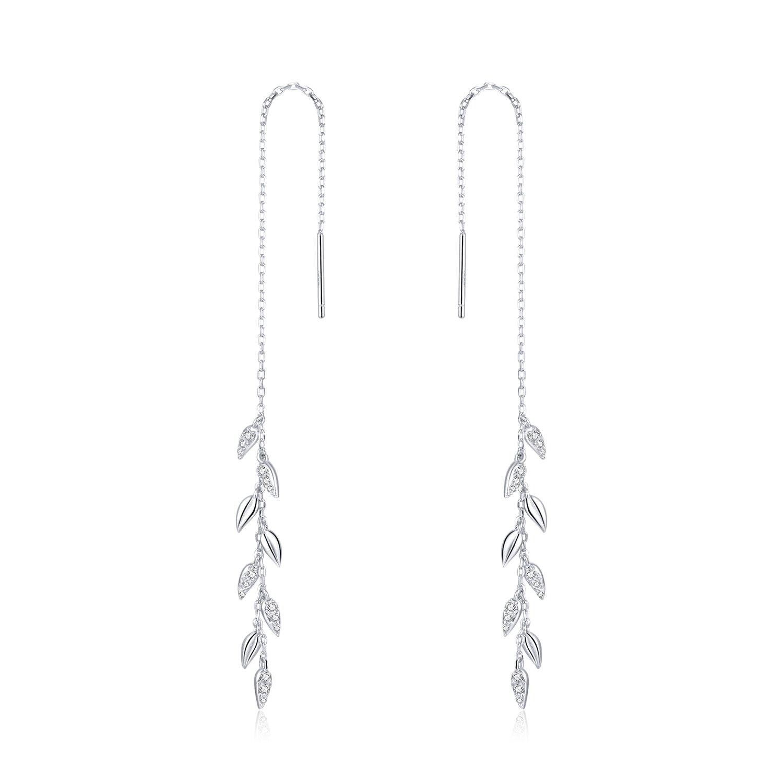 cercei din argint sparkling long leafs 87697 4