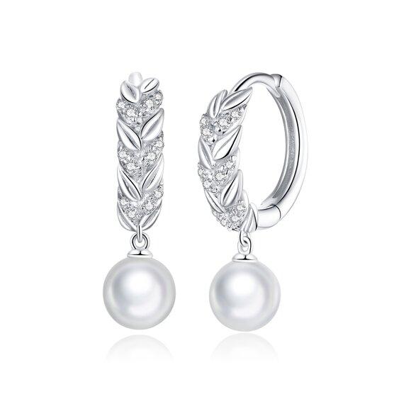 Cercei din argint Sparkling Pearl Hoops