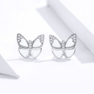 Cercei din argint Sparkling White Butterflies