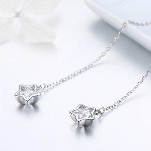 Cercei din argint Star Chain Drop