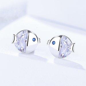 Cercei din argint Sweet Crystal Fish